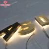 chữ inox vàng xước đế mica có đèn